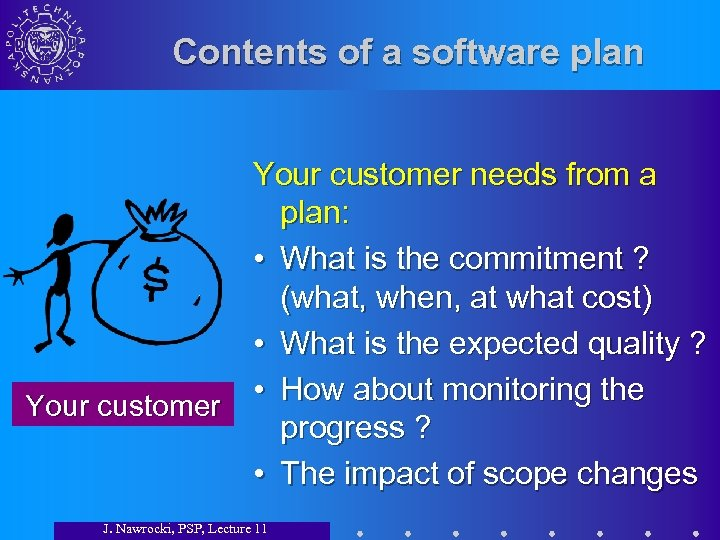 Contents of a software plan Your customer needs from a plan: • What is