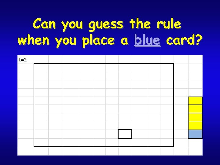 Can you guess the rule when you place a blue card?