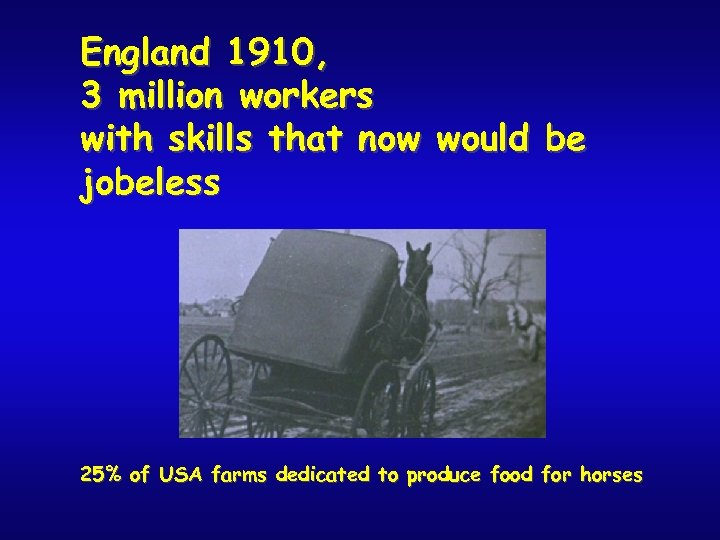 England 1910, 3 million workers with skills that now would be jobeless 25% of