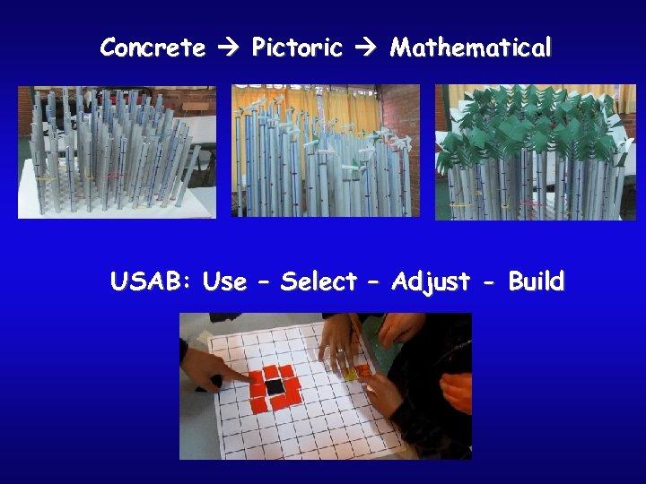 Concrete Pictoric Mathematical USAB: Use – Select – Adjust - Build