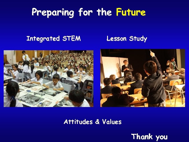 Preparing for the Future Integrated STEM Lesson Study Attitudes & Values Thank you