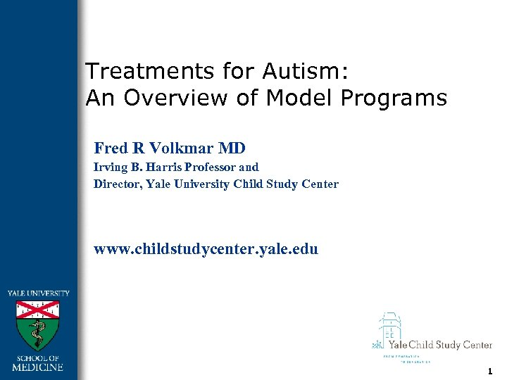 Treatments for Autism: An Overview of Model Programs Fred R Volkmar MD Irving B.
