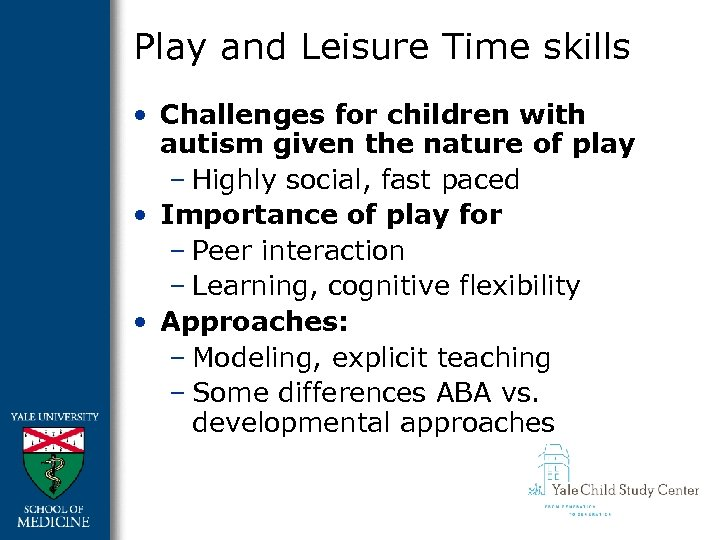 Play and Leisure Time skills • Challenges for children with autism given the nature