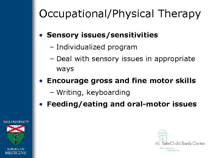 Occupational/Physical Therapy • Sensory issues/sensitivities – Individualized program – Deal with sensory issues in