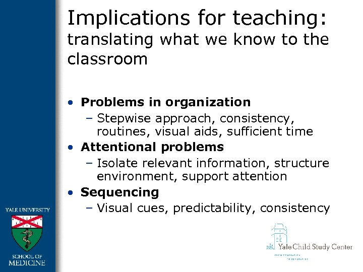 Implications for teaching: translating what we know to the classroom • Problems in organization