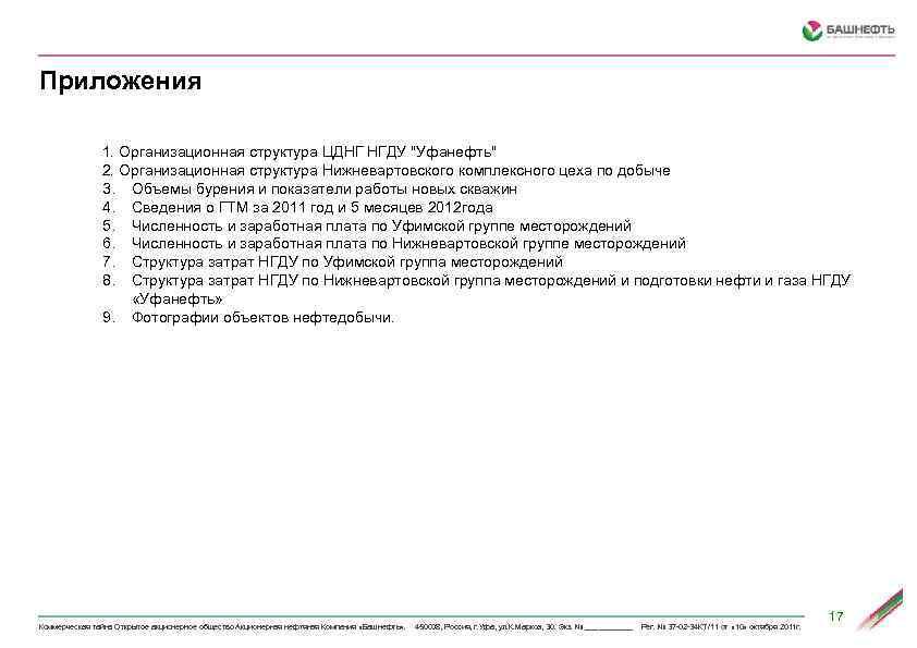 Приложения 1. Организационная структура ЦДНГ НГДУ