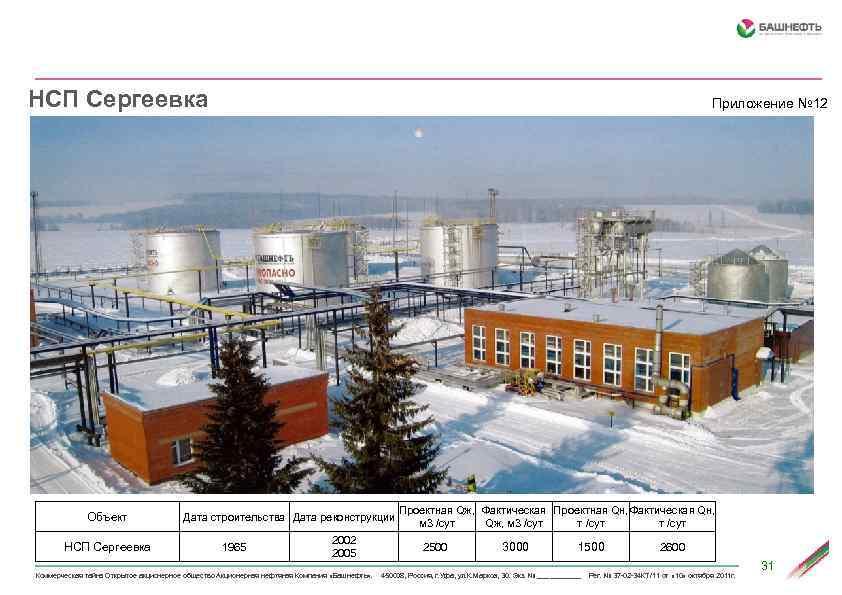 НСП Сергеевка Объект НСП Сергеевка Приложение № 12 Дата строительства Дата реконструкции 1965 2002