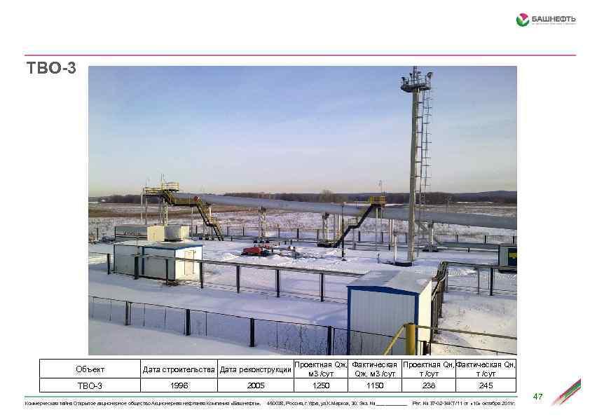 ТВО-3 Объект ТВО-3 Дата строительства Дата реконструкции 1996 2005 Проектная Qж, Фактическая Проектная Qн,