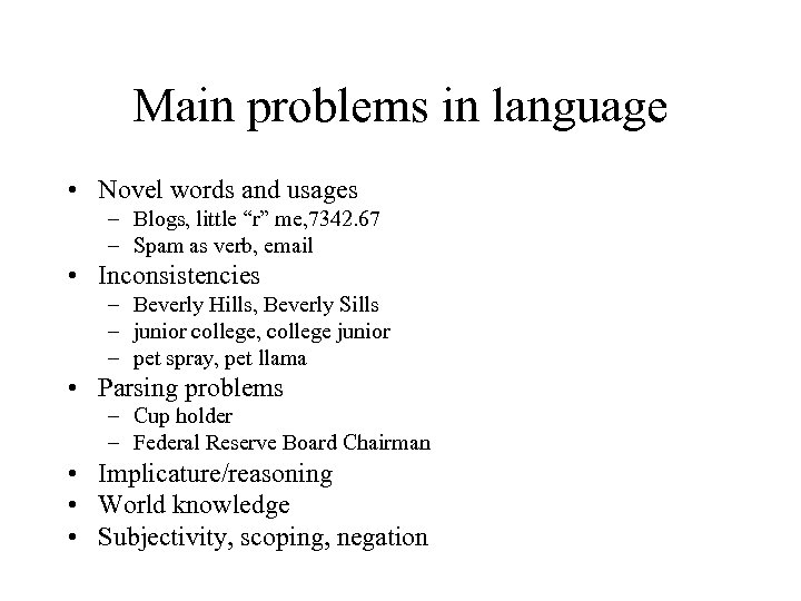 """Main problems in language • Novel words and usages – Blogs, little """"r"""" me,"""
