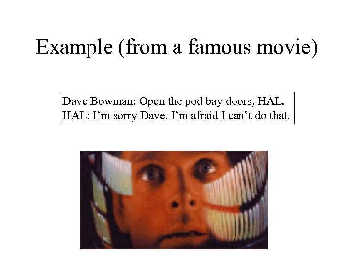 Example (from a famous movie) Dave Bowman: Open the pod bay doors, HAL: I'm