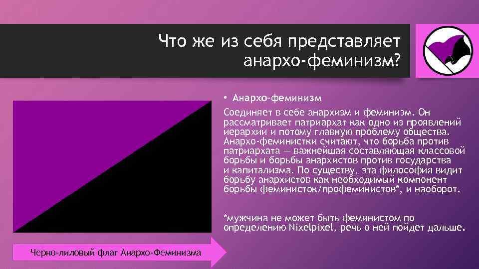 Что же из себя представляет анархо-феминизм? • Анархо-феминизм Соединяет в себе анархизм и феминизм.