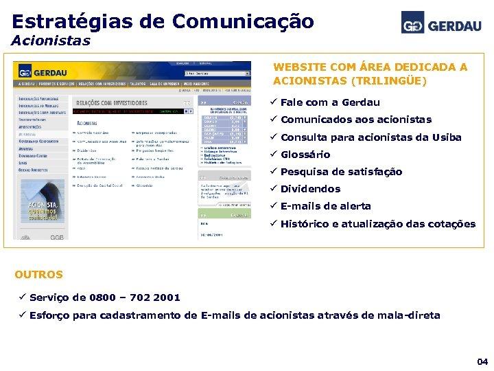 Estratégias de Comunicação Acionistas WEBSITE COM ÁREA DEDICADA A ACIONISTAS (TRILINGÜE) ü Fale com