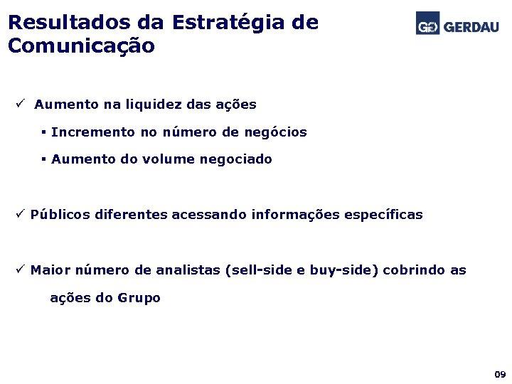 Resultados da Estratégia de Comunicação ü Aumento na liquidez das ações § Incremento no