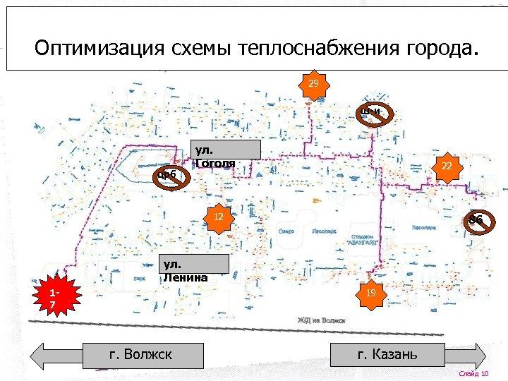 Оптимизация схемы теплоснабжения города. 29 ш-и црб ул. Гоголя 22 12 86 ул. Ленина