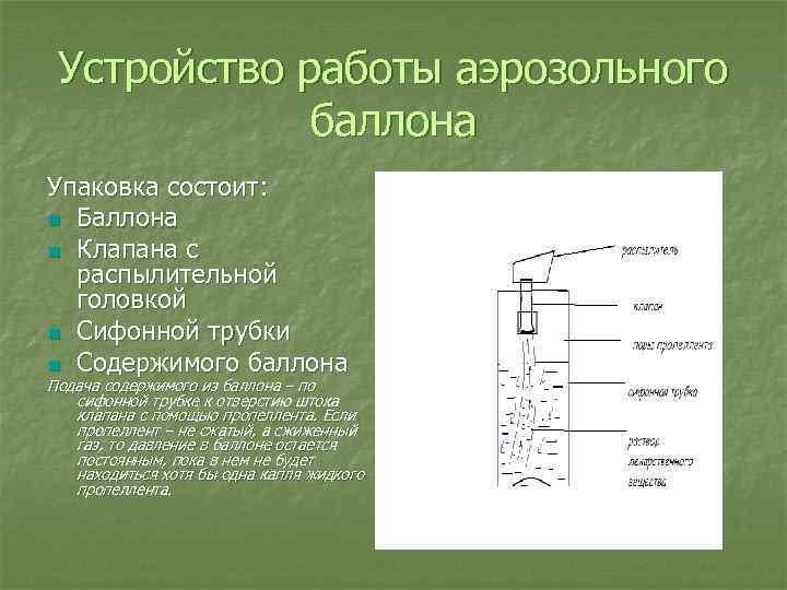 Устройство работы аэрозольного баллона Упаковка состоит: n Баллона n Клапана с распылительной головкой n