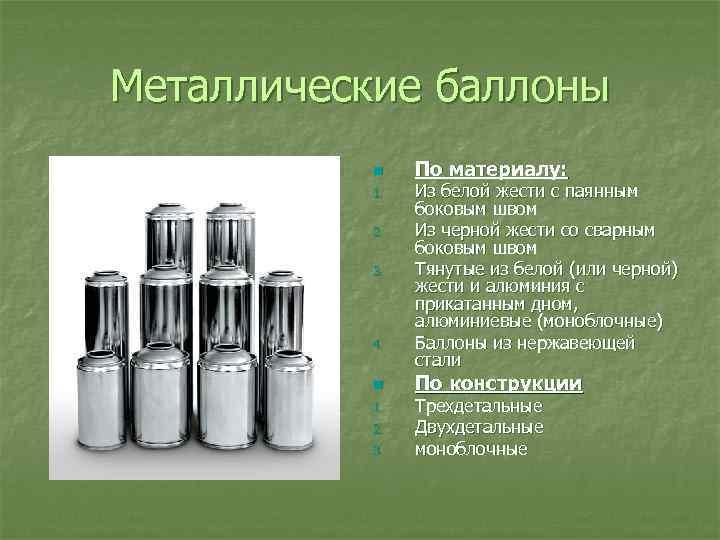 Металлические баллоны n 1. 2. 3. 4. n 1. 2. 3. По материалу: Из