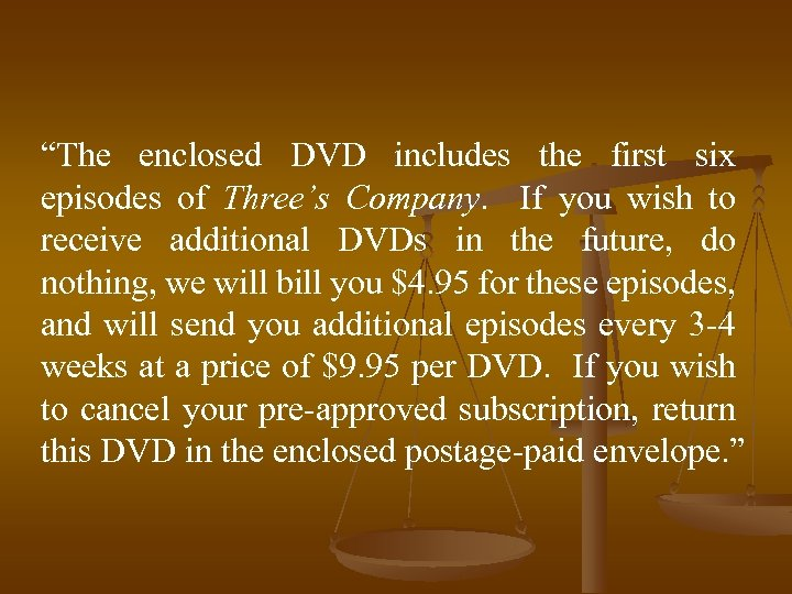 """The enclosed DVD includes the first six episodes of Three's Company. If you wish"