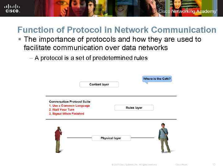 Function of Protocol in Network Communication § The importance of protocols and how they