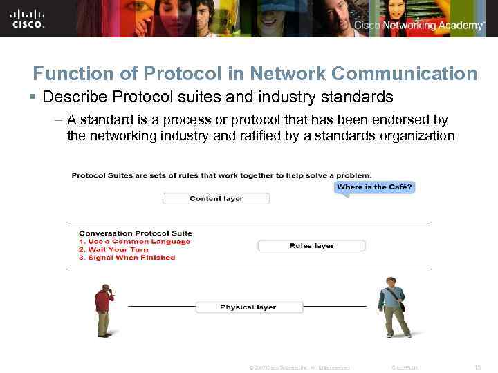 Function of Protocol in Network Communication § Describe Protocol suites and industry standards –