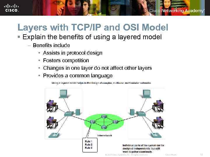 Layers with TCP/IP and OSI Model § Explain the benefits of using a layered