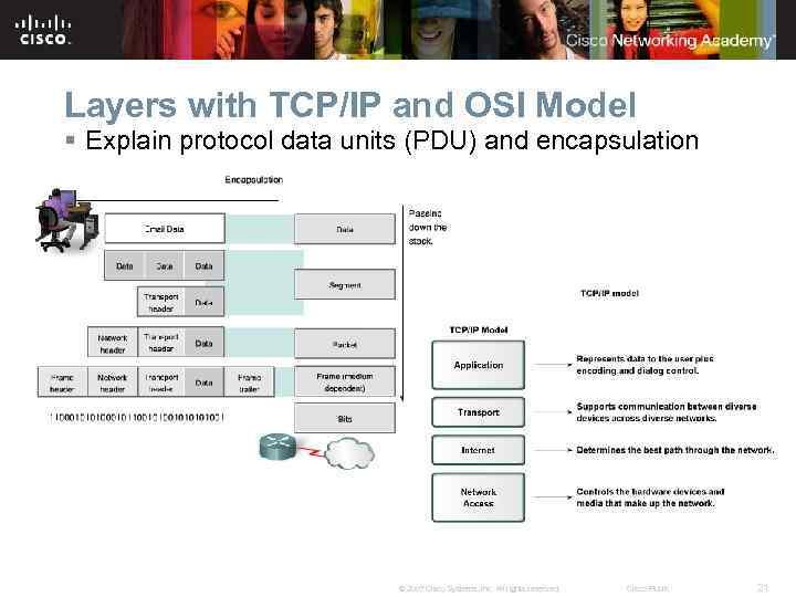 Layers with TCP/IP and OSI Model § Explain protocol data units (PDU) and encapsulation