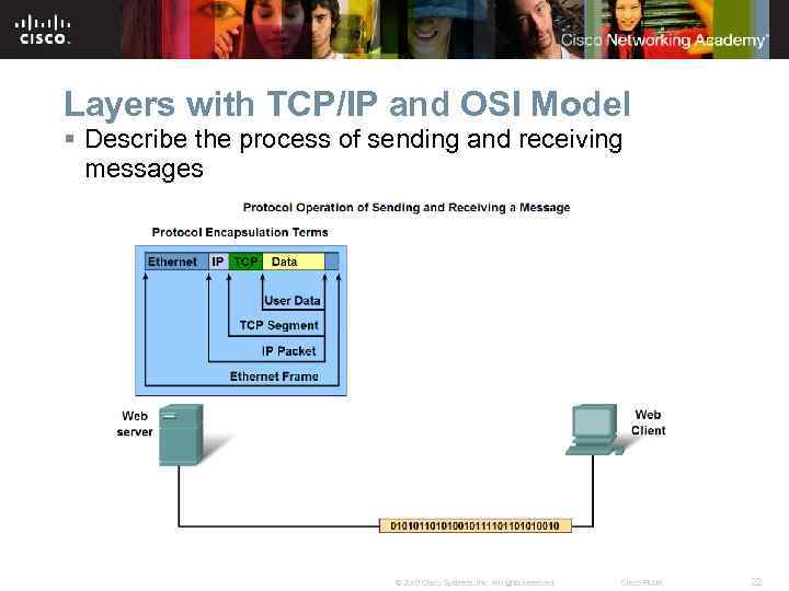 Layers with TCP/IP and OSI Model § Describe the process of sending and receiving