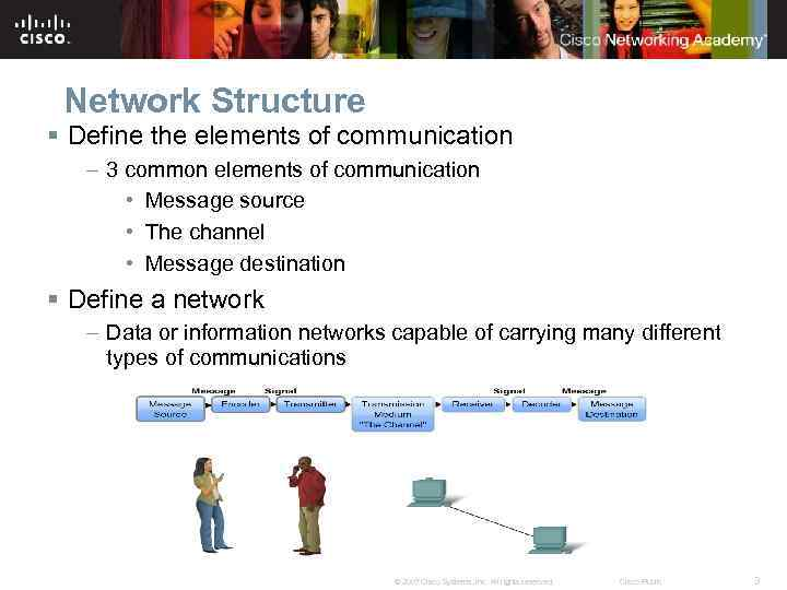 Network Structure § Define the elements of communication – 3 common elements of communication