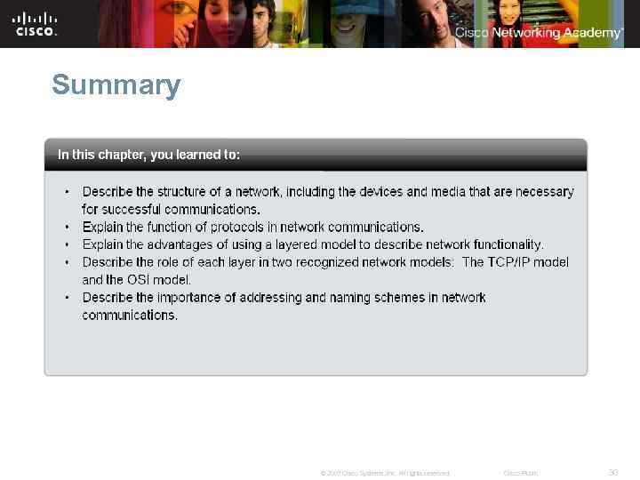 Summary © 2007 Cisco Systems, Inc. All rights reserved. Cisco Public 30