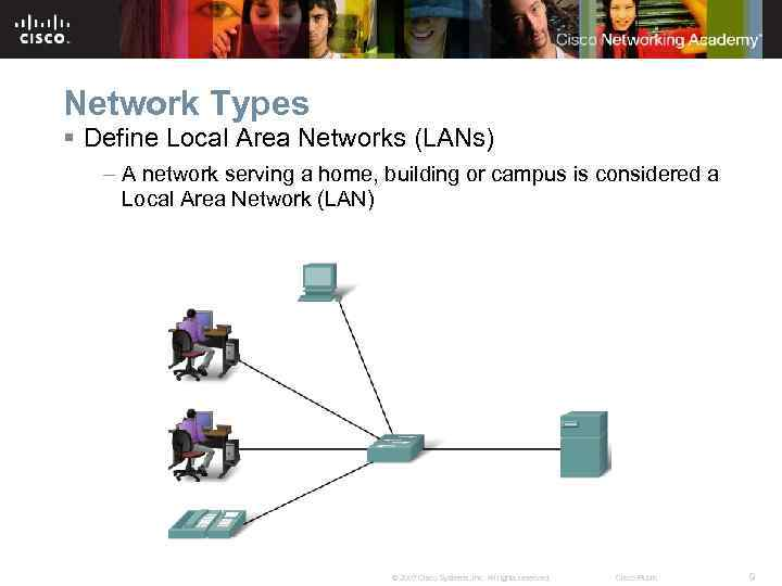 Network Types § Define Local Area Networks (LANs) – A network serving a home,