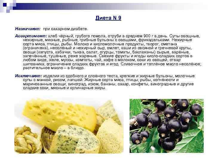 Диета N 9 Назначают: при сахарном диабете. Ассортимент: хлеб чёрный, грубого помола, отруби в