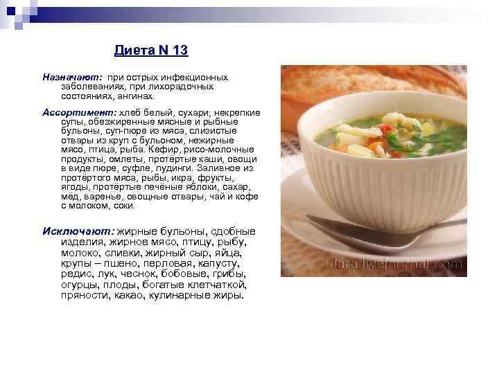 Диета N 13 Назначают: при острых инфекционных заболеваниях, при лихорадочных состояниях, ангинах. Ассортимент: хлеб