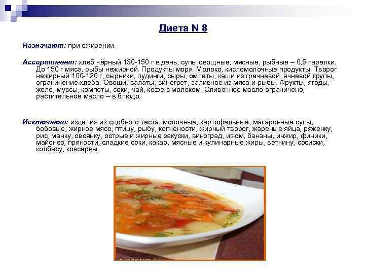 Медицинская Диета 8 А. Диета 8 стол: что можно, чего нельзя (таблица), меню на неделю