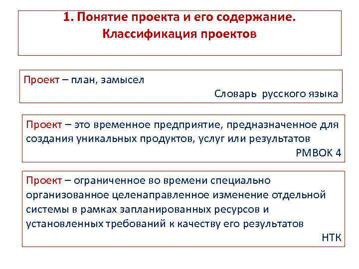 1. Понятие проекта и его содержание. Классификация проектов Проект – план, замысел Словарь русского