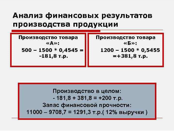 Анализ финансовых результатов производства продукции Производство товара «А» : 500 – 1500 * 0,