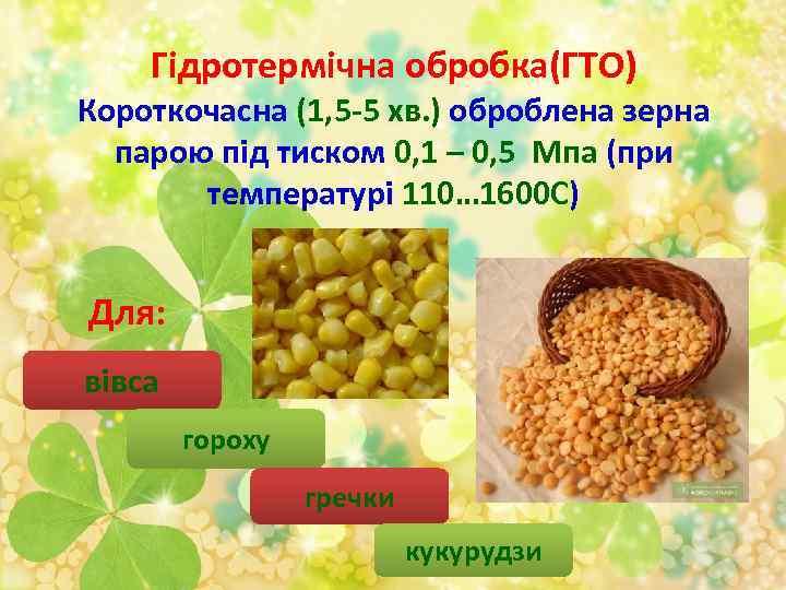 Гідротермічна обробка(ГТО) Короткочасна (1, 5 -5 хв. ) оброблена зерна парою під тиском 0,