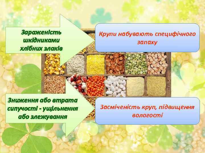 Зараженість шкідниками хлібних злаків Крупи набувають специфічного запаху Зниження або втрата сипучості - ущільнення