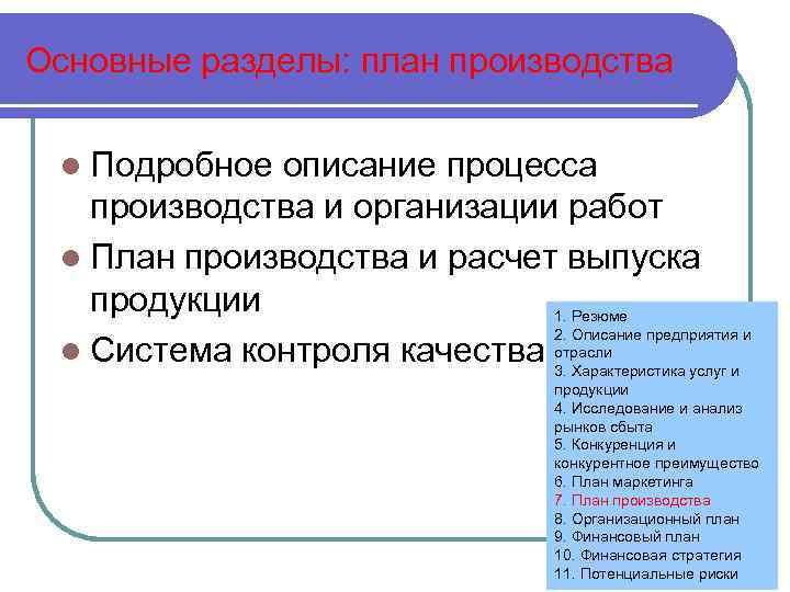 Основные разделы: план производства l Подробное описание процесса производства и организации работ l План