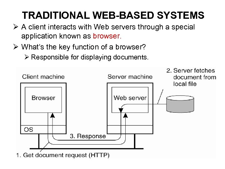 TRADITIONAL WEB-BASED SYSTEMS Ø A client interacts with Web servers through a special application