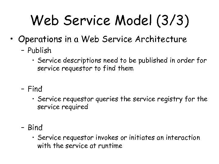 Web Service Model (3/3) • Operations in a Web Service Architecture – Publish •
