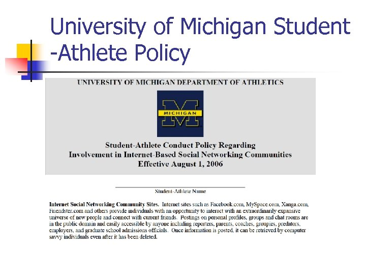 University of Michigan Student -Athlete Policy