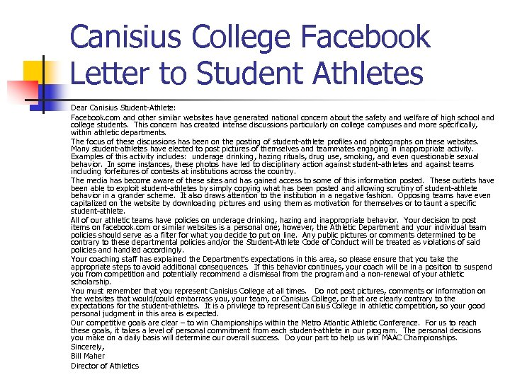 Canisius College Facebook Letter to Student Athletes Dear Canisius Student-Athlete: Facebook. com and other