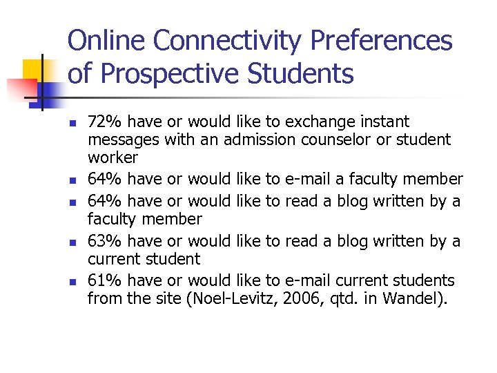Online Connectivity Preferences of Prospective Students n n n 72% have or would like
