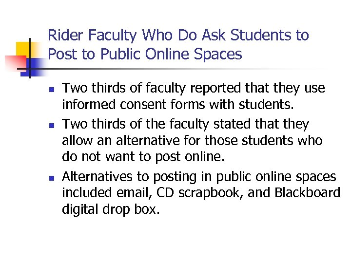 Rider Faculty Who Do Ask Students to Post to Public Online Spaces n n