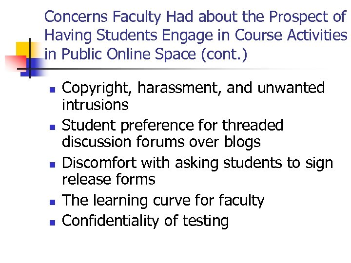 Concerns Faculty Had about the Prospect of Having Students Engage in Course Activities in