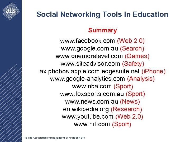 Social Networking Tools in Education Summary www. facebook. com (Web 2. 0) www. google.
