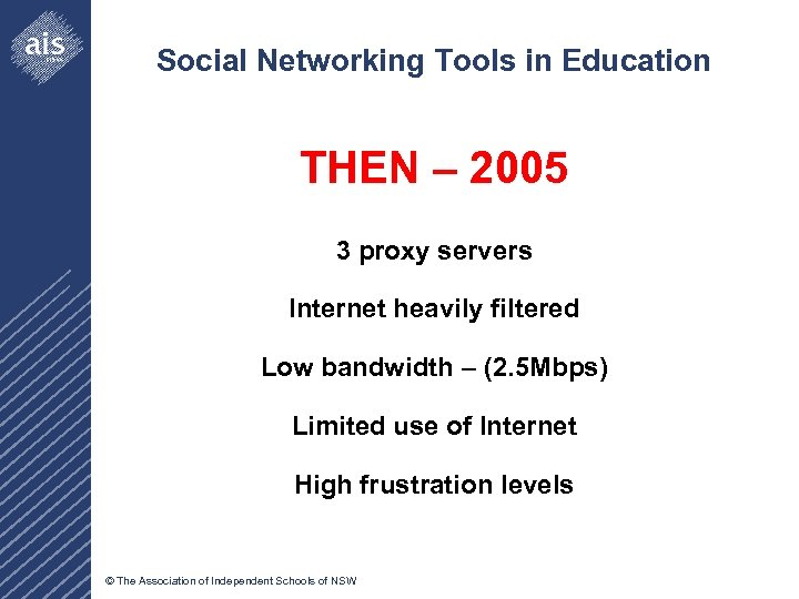 Social Networking Tools in Education THEN – 2005 3 proxy servers Internet heavily filtered