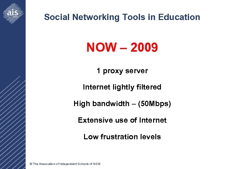 Social Networking Tools in Education NOW – 2009 1 proxy server Internet lightly filtered