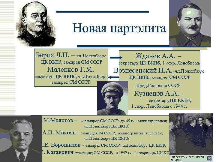 Новая партэлита Берия Л. П. – чл. Политбюро Жданов А. А. – ЦК ВКПб,