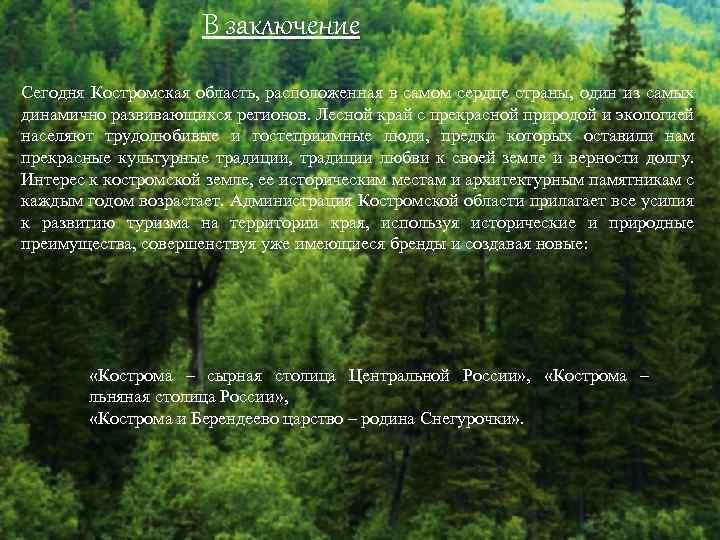 В заключение Сегодня Костромская область, расположенная в самом сердце страны, один из самых динамично