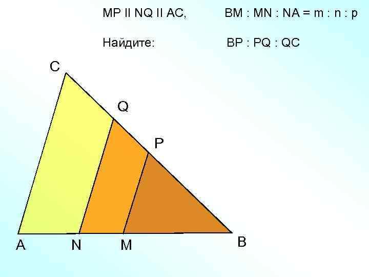 MP II NQ II AC, BM : MN : NA = m : n